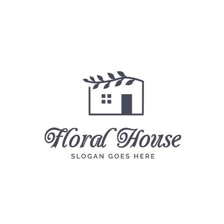 House with floral roof logo design