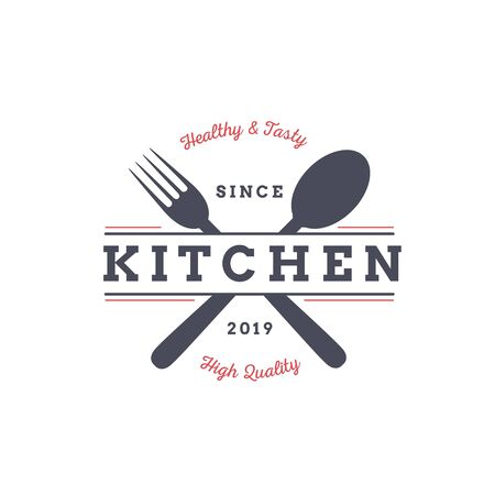 Classic simple kitchen logo design with spoon and fork
