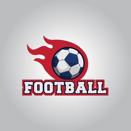 Football logo design with fire ball graphics and text below Ilustração