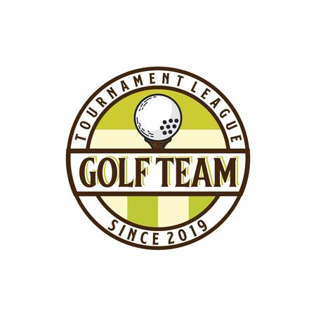 Golf circle seal logo design with golf ball and field illustration inside circle