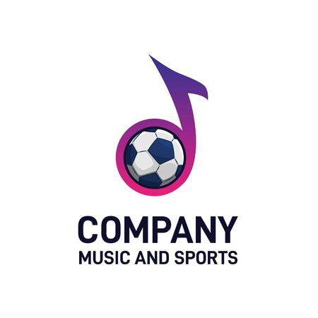 Colorful music note combined with football sport graphics logo design Ilustração
