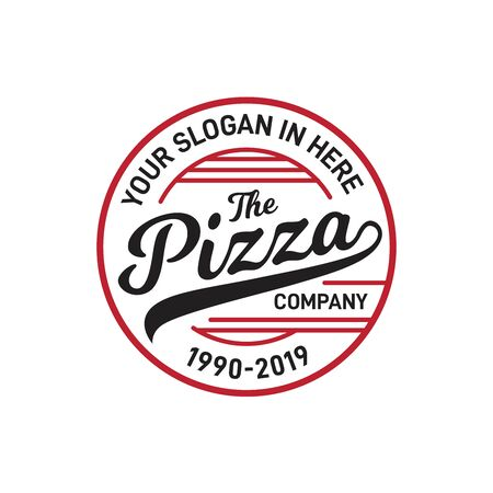 Pizza circle badge restaurant logo design with red and black color Фото со стока - 129095071