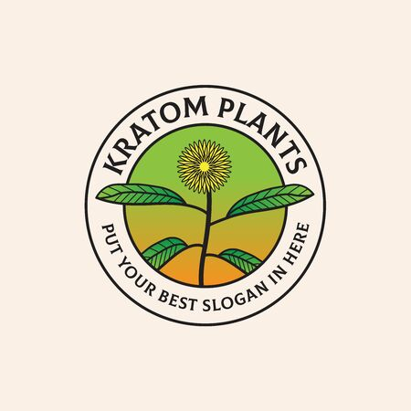 Kratom realistic plants illustration inside circle seal food and agriculture logo design
