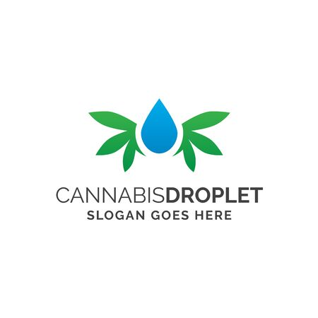 Water or oil droplet with cannabis leaf like wings on its side medical logo design