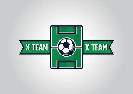 Versus sport team logo design with football field graphics on center and team name on each side Ilustração