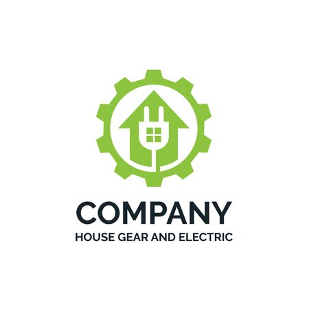 Modern home with electric jack and gear cog smarthouse logo design