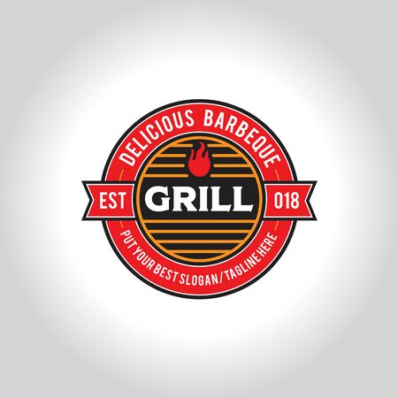 Barbeque circle seal logo design with flame and grill burn equipment
