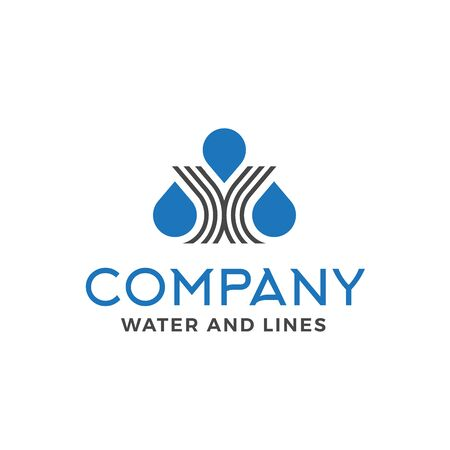 Modern water company with triple water droplet made form of human