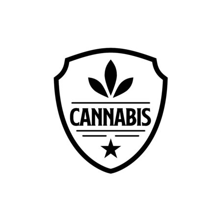 Modern and simple cannabis shield logo design with star and hemp graphics