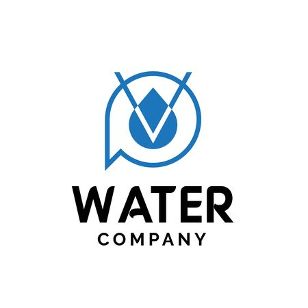 Initial letter PV logo design with water droplet graphics 일러스트