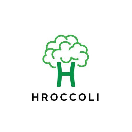 Broccoli fresh vegetable market logo design with initial letter H