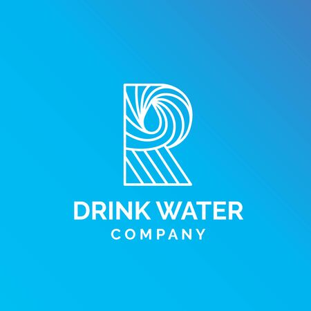 Initial letter R blue line art water droplet food and drink logo design