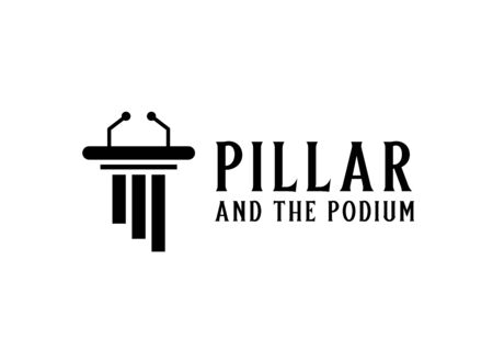 Pillar with microphone for podium political logo design Stock Illustratie