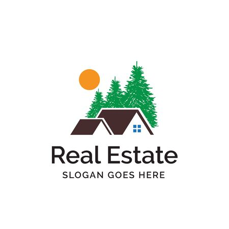 House logo design with roof, cedar and sun illustration