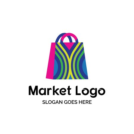 Colorful line pattern shopping bag market shop logo design