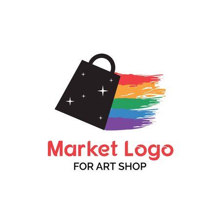 Arts shop logo design with sky full of stars shopping bag illustration with rainbow paint brush