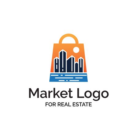 Modern shopping bag logo with sunset cityscape and beach illustration