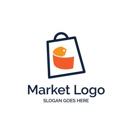 Shopping bag market logo design with orange price tag illustration