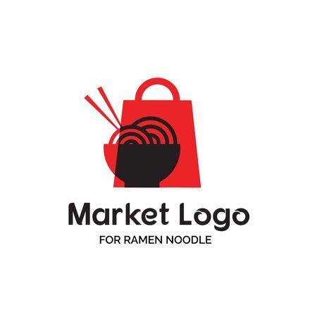 Asian ramen noodle shop logo design with red shopping bag and a bowl of ramen noodle illustration