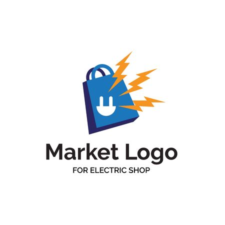 Electric shop logo design with electric jack, yellow bolt and blue shopping bag illustration