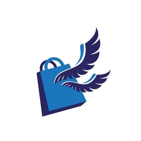 Modern shopping bag logo with blue wings illustration