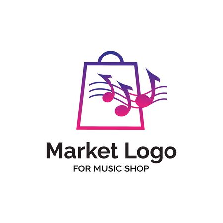 Music instrument market shop logo design with music note and shopping bag illustration  イラスト・ベクター素材
