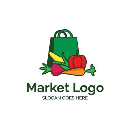 Vegetable fresh market logo design with shopping bag and colorful vegetable like corn, radish, carrot and tomato illustration