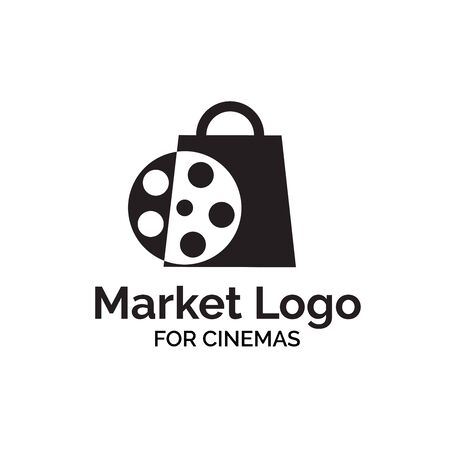 Movie market shop logo design with shopping bag and reel film illustration