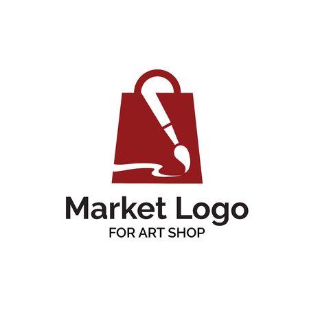 Art shop logo design with shopping bag and paintbrush illustration