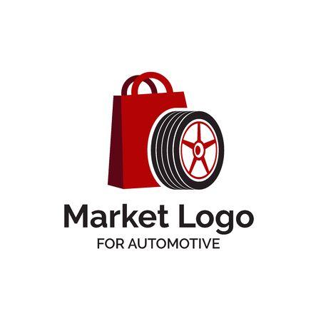Automotive market shop logo design with shopping bag and car wheel illustration  イラスト・ベクター素材