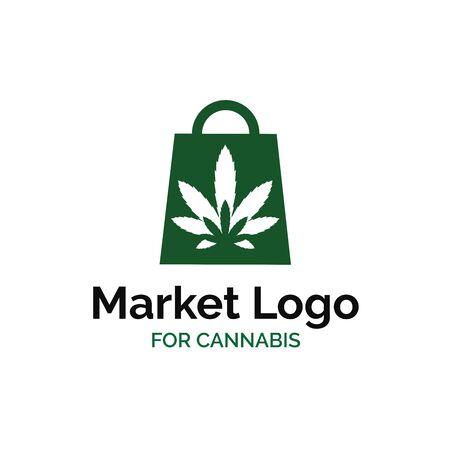 Cannabis shop logo design with shopping bag and marijuana leaf illustration