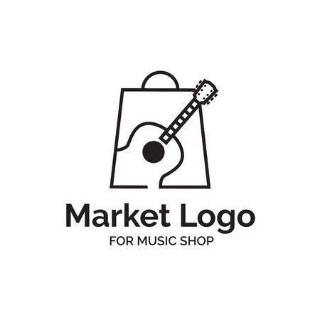 Music instrument market shop logo design with guitar and shopping bag illustration  イラスト・ベクター素材