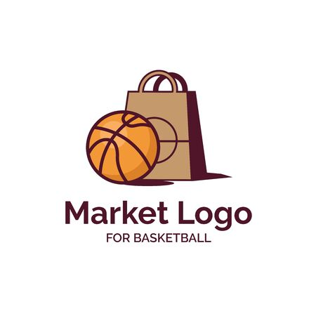 Basketball with shopping bag illustration market shop logo design  イラスト・ベクター素材