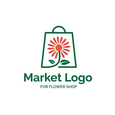 Flower market shop logo design with shopping bag and flower illustration