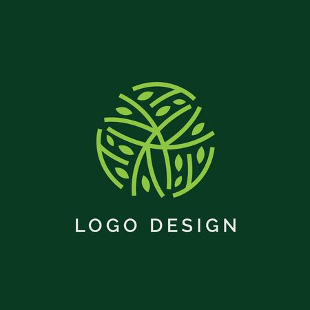 Holistic medical and health wellness logo design with leaf line pattern and green color