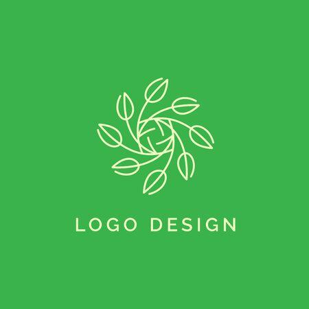 Holistic medical and health wellness logo design with simple leaf line pattern and light green color Ilustração