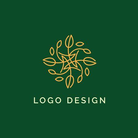 Holistic medical and health wellness logo design with gold leaf line pattern and green color Ilustração