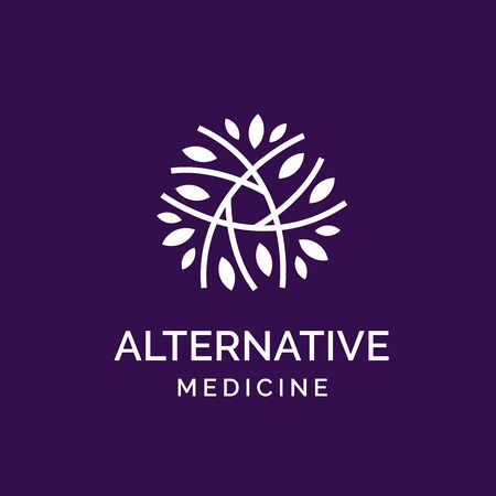 Holistic medical and health wellness logo design with branch leaf line pattern and purple color