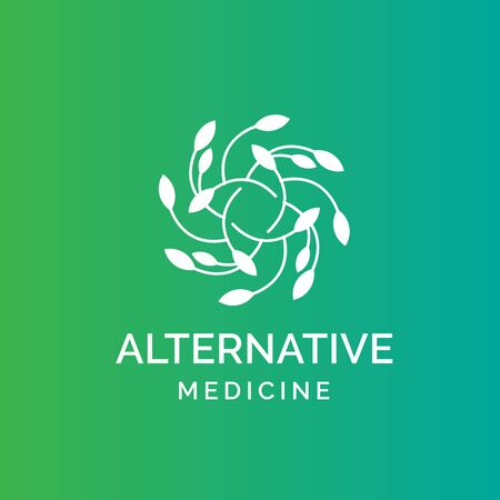 Holistic medical and health wellness logo design with leaf line pattern and green blue color