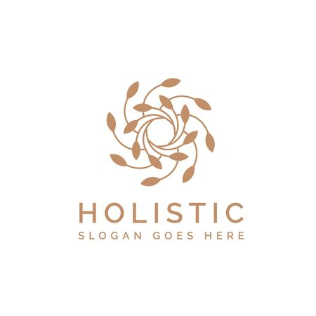 Holistic medical and health wellness logo design with simple leaf line pattern and gold color