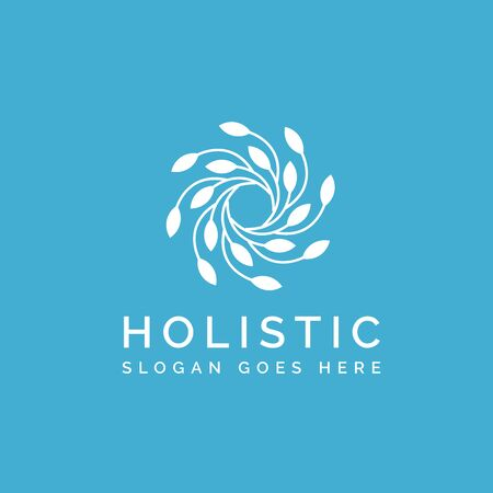 Holistic medical and health wellness logo design with simple leaf line pattern and blue color