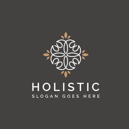 Holistic medical and health wellness logo design with leaf line pattern and grey gold color Ilustração