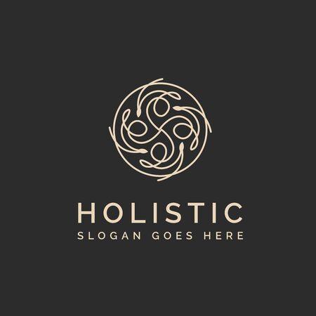Holistic medical and health wellness logo design with brown line pattern in dark backgrounds Ilustração