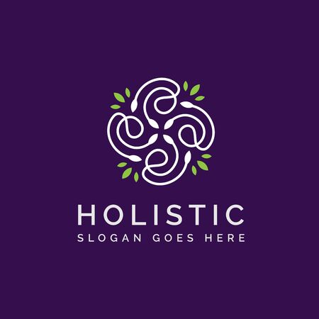 Holistic medical and health wellness logo design with green white leaf line pattern and purple background