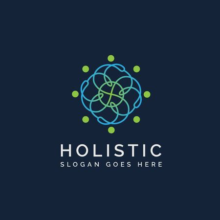 Holistic medical and health wellness logo design with human line pattern and blue background
