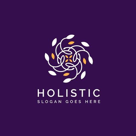 Holistic medical and health wellness logo design with leaf line pattern in gold white purple color