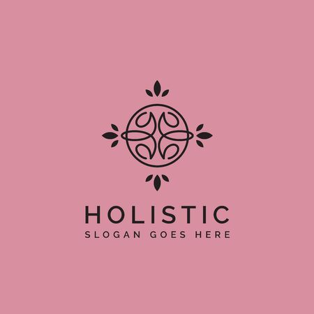 Holistic medical and health wellness logo design with leaf line pattern in black and pink color