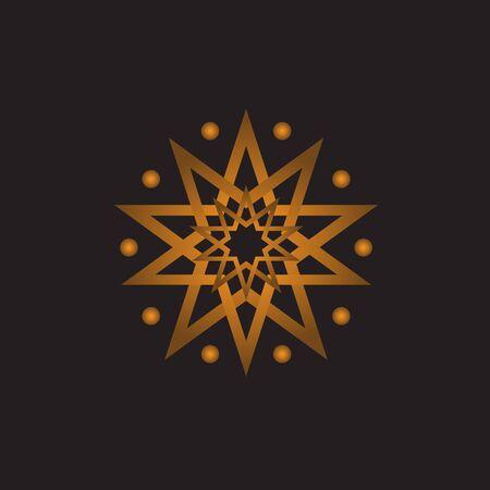 Modern geometric gold islamic arabian star patterns