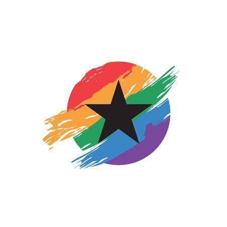 Star silhouette inside colorful rainbow circle paintbrush logo design