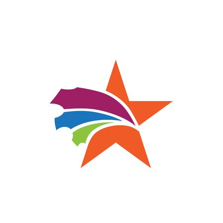 Star with colorful ticket coupon sale logo design Illustration